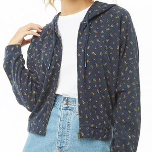Forever 21 Ditsy Floral Waffle Zip up Jacket
